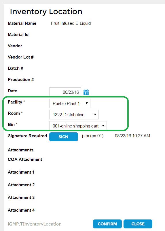 InstantGMP Bin Location 6