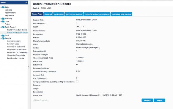 InstantGMP Batch Production Records Screenshot
